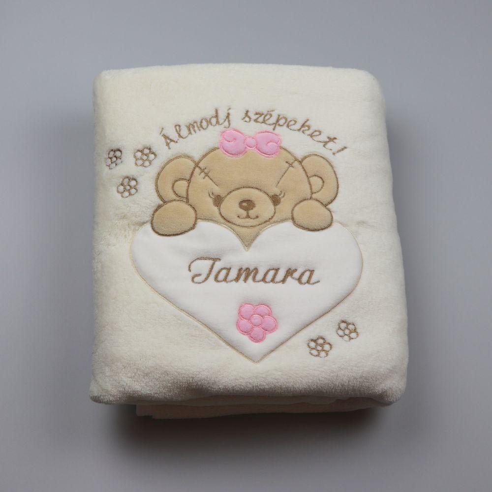 nyers málna 75x95 névre szóló WS takaró - Kukukk Baby Webshop 0351c5f3b4
